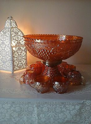 Carnival Glass Imperial Grape Marigold punch bowl,stand,cups/set