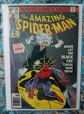 The Amazing Spider-Man #194 - 1st app of Black Cat - Signed by Marv Wolfman (FN)