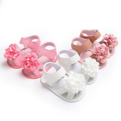 Infant Toddler Baby Girl Summer Sandals Flower Crib Shoes Princess Shoes 0-18M