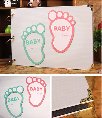 DIY 27 x 19cm 30pages 3 Rings Baby Foot  Kraft Scrapbook Album DIY Decor