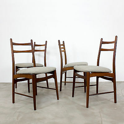 4 Mid Century Modern Dining Chairs 60s new fabric | Danish Teak Stühle 60er 50er