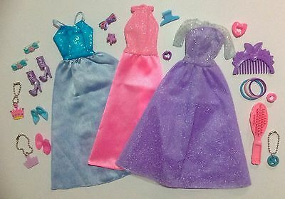 Barbie Doll Dresses Gowns Evening Wear Shoes & Matching Accessories Lot