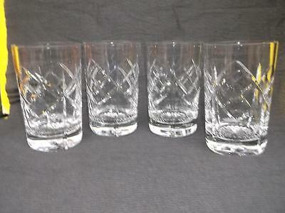 150 / Good Set Of Four Vintage Tudor England Large & Heavy Cut Glass Tumblers