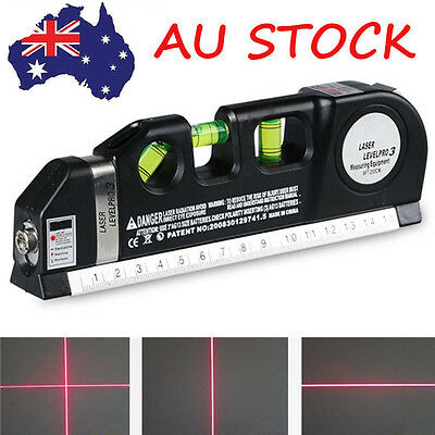 Multipurpose Laser Level Horizon Measure Tape Aligner Ruler 8FT Standard Metric