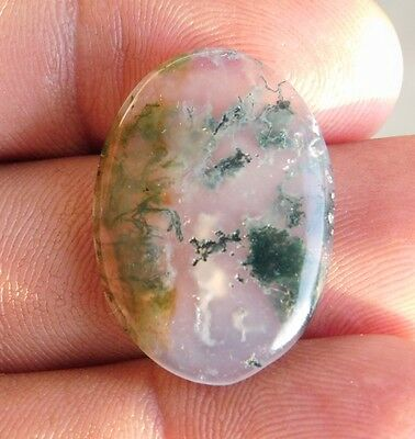 15.85 Cts ?Unique Design  100% Natural Green Moss Opal Agate Cabochon Gemstone