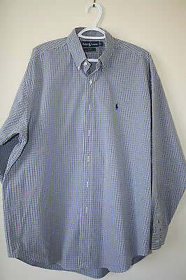 Ralph Lauren Blake Men's Long Sleeve 100% Cotton Dress Shirt Size L