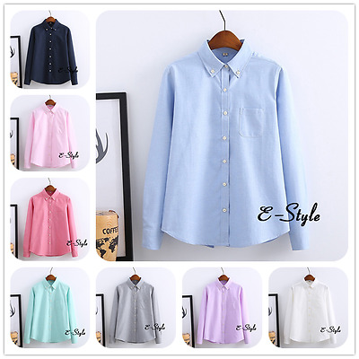 Women Long Sleeve Office Lady Shirt Formal Date Party Tops Casual Blouses