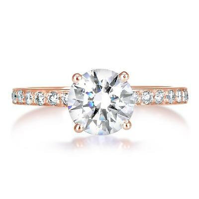 2 ct VS1 Round Cut Diamond Solitaire Engagement Ring Rose Gold 14k 263010