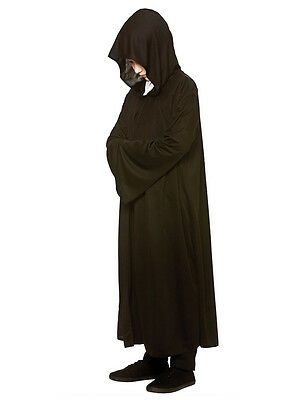Kids Childs Black Hooded Robe Fancy Dress Cloak Halloween Grim Reaper Boys Girls