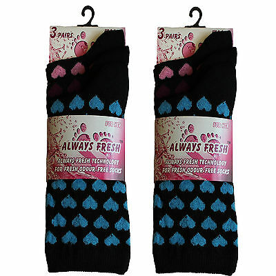 6 Pairs Ladies / Girls Hearth Design Everyday Holiday Socks UK Size 4-6