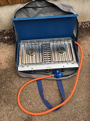 Trailer Tent Hiking Camping Gas Gaz Double Burner Stove Grill In Derby