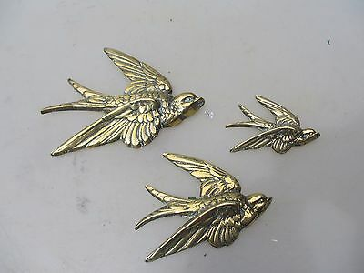 Antique Brass Wall Birds Brass Swallows Set of Three Wall Hanging Birds Vintage