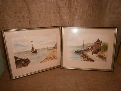 X 2 Framed Under Glass ORIGINAL WATER COLOUR PAINTINGS Unsigned 'BOATS'