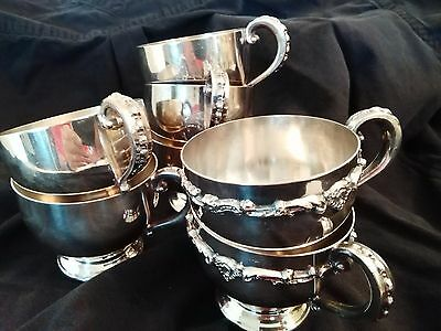 Vintage EPCA Poole Silver Plate Cups Set of Seven (7)