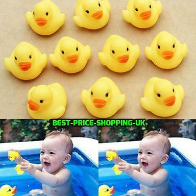 10 Small  Kids Bath Yellow Rubber Duck Toys Bath time Fun Time Floating Water