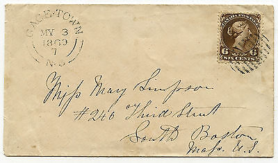 Canada 6c GAGE.TOWN NB May 3 1869 to South Boston Mass USA - transit stike back