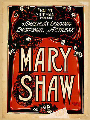Photo Printed Old Poster: 1800s Theatre Flyer Enrnest Shipman Presents Mary Shaw