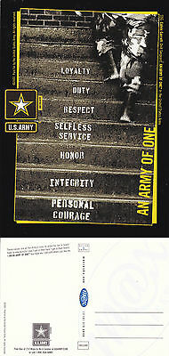 US ARMY AN ARMY OF ONE RECRUITMENT UNUSED COLOUR POSTCARD (c)