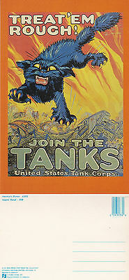 Us Join The Us Tank Corps Advertising Unused Colour Postcard