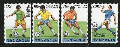 TANZANIA 1990 ITALY FOOTBALL WORLD CUP SET OF ALL FOUR STAMPS MNH (a)