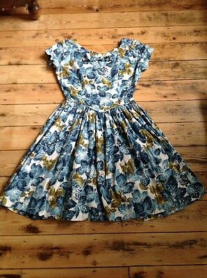 Vintage 1950s Floral Bow Detailing Cotton Dress 8/10