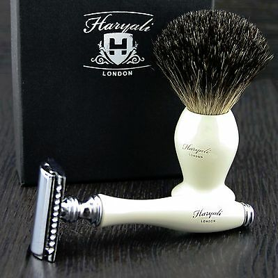 Pure SliverTip Badger Hair Men's Shaving Brush With Gillette Mach 3 Razor Head