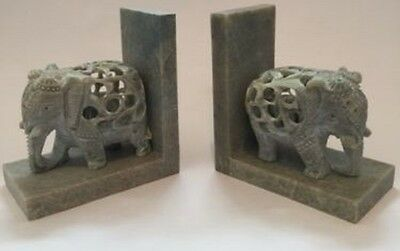 Hand Carved Set of Soapstone Elephant Bookends with Baby Elephant carved inside