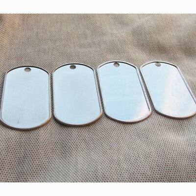 100pcs/lot edge rolled eared blank Army Dog Tags Men Pendants punchable ID TAG