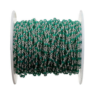 50 Feet Green Onyx Wire Wrapped Rondelle Beads Rosary Style Beaded Chain RC45