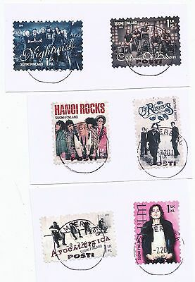 """Finland 2015 postally used """"pop music rock bands """" stamp set on paper cut"""