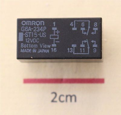 Omron G6A-234P-ST15-US DPDT PCB Mount Relay, 12V dc For Use In Low Signal Applic
