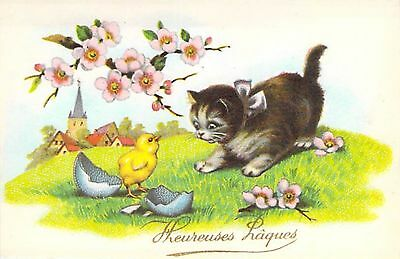 Chat - Oeuf - Paysage - Heureuses Paques