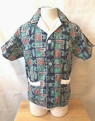 VTG 60's Towel Lined Hawaii Cabana Shirt Beach Tapa Batik Tiki Retro Mens  L