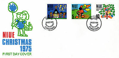 Niue 1975 Christmas Set On An Illustrated First Day Cover