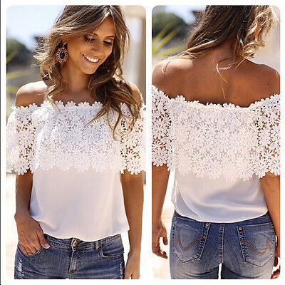 2017 Summer Women White Chiffon Tops Blouse Sleeveless Lace Floral T-Shirt Loose