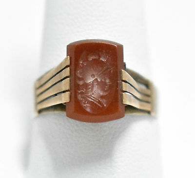 1850's Carnelian Intaglio 8K Gold Ring Size 11.5 ((#102)