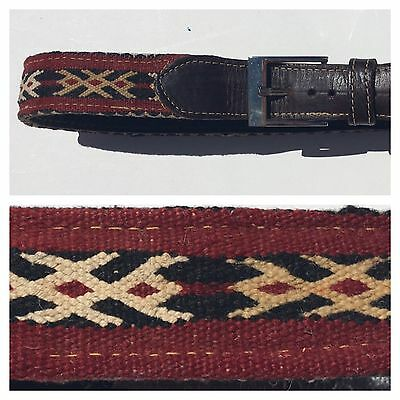 Vintage 70s Mexican Moroccan Aztec Red Woven Kilim Brown Leather Belt M L