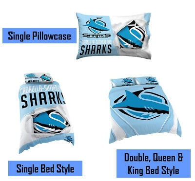 Cronulla Sharks NRL Pillow Quilt Cover Set: Single, Double, Queen & King Bed