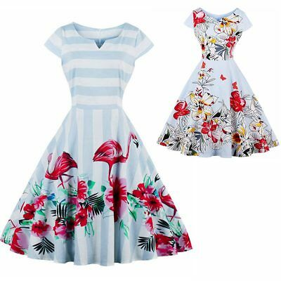 Women's Cap Sleeve Floral 1950's Vintage Style Retro Cocktail Party Swing Dress
