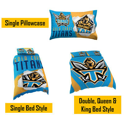 Gold Coast Titans NRL Pillow Quilt Cover Set: Single, Double, Queen & King Bed