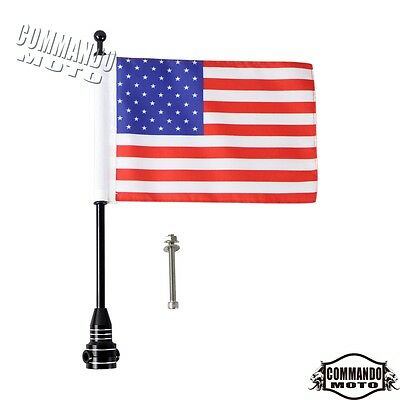 Black Motorbike Bike American USA Flag pole Luggage Rack Mount For Harley Custom