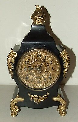 Antique Working 19th C. ANSONIA Black Iron Fancy Victorian Mantel Shelf Clock