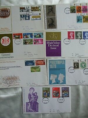 7 x FIRST DAY COVER STAMPS 1970 RURAL ANNIVERSARIES DICKENS & WORDSWORTH DECIMAL