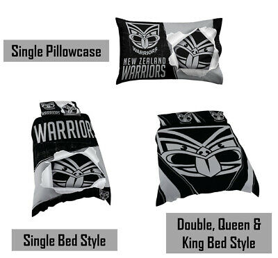 New Zealand Warriors NRL Pillow Quilt Cover Set: Single, Double, Queen, King Bed