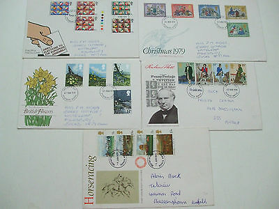 5 x FIRST DAY COVER STAMPS 1979 ELECTION EUROPEAN ROWLAND HILL HORSE-RACING XMAS
