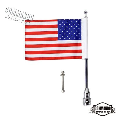 Chrome Motorcycle American USA Flag pole Rack Mount For Harley Cruiser Custom