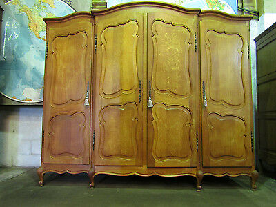 Quality vintage 4 door carved French light oak wardrobe,armoire,shelves Louis XV