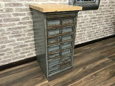 Oak Top Vintage Metal Drawer Cabinet