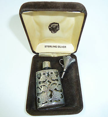Vintage Sterling Silver Glass Scent Perfume Bottle & Funnel 63mm x 33mm (Boxed)