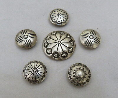 Vintage Navajo Native Indian Sterling Silver Button Cover Stamped Set Of 6